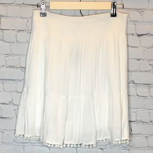 LILLY PULITZER 'EVELYN' WHITW POM FRINGE SKIRT